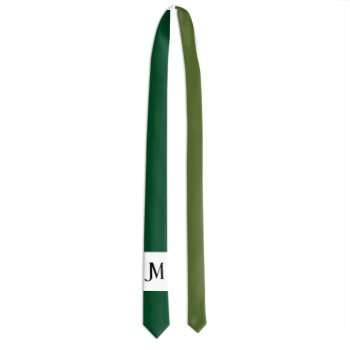 MEN'S TWO-TONE JM LOGO SKINNY TIE // Forest Green, Olive Green, White, & Black