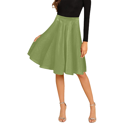 WOMEN'S PLEATED MIDI SKIRT // Olive Green