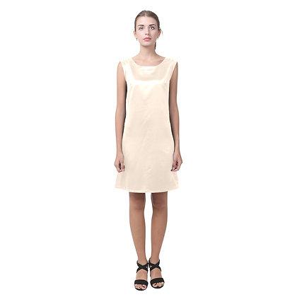 WOMEN'S ROUND NECK KEYHOLE BACK SHIFT DRESS // Nude