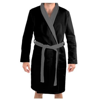 MEN'S PLUSH VELVET JM LOGO PRINT BATHROBE // Black, Grey, & White