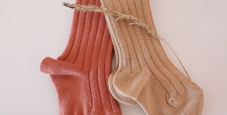 COTTON RIBBED SOCKS - TOFFEE