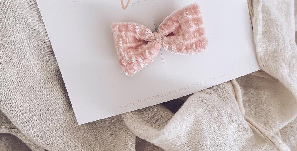 Velvet pillow bow