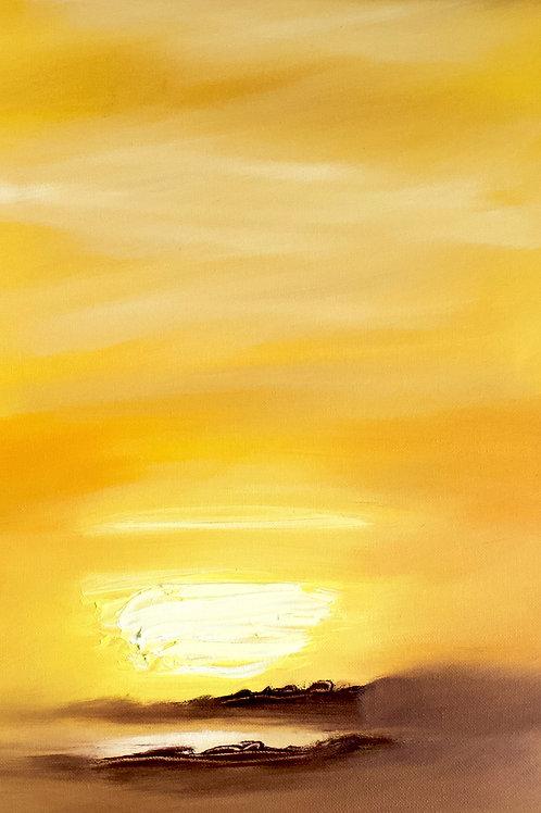Sunset (Oil on Board : 8.6cmx30cm)
