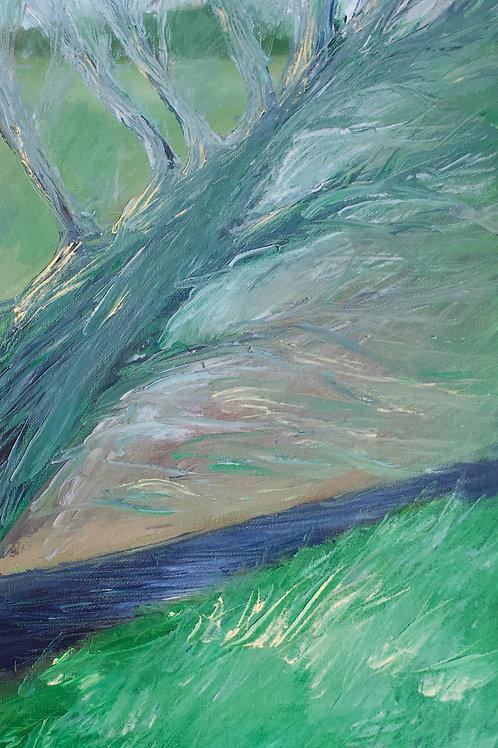 Letcombe Willow (Oil on Board : 8.6cmx30cm)