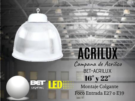 """Campana de Acrílico colgante 16"""" y 22"""" Modelo BET-ACRILUX"""