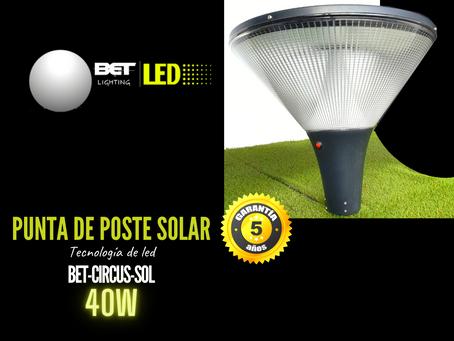 Lampara punta de poste de led Solar 40W modelo BET-CIRCUS-SOL