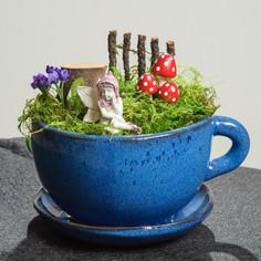 Blue Tea Cup Fairy Garden