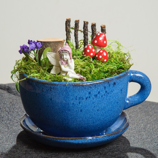 Blue Tea Cup Fairy Garden