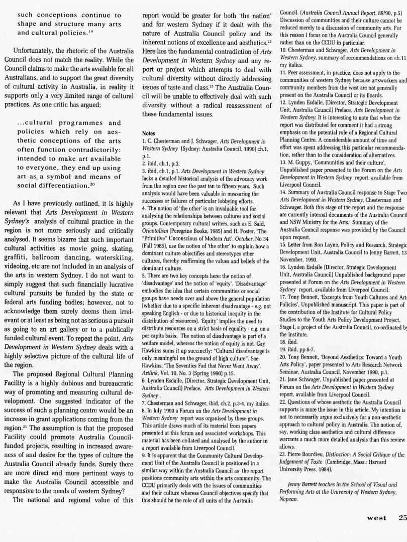 West Magazine Cultural Policy For Western Sydney 1990_JennyBarrett WEST Vol.4 No1 1991 (4)