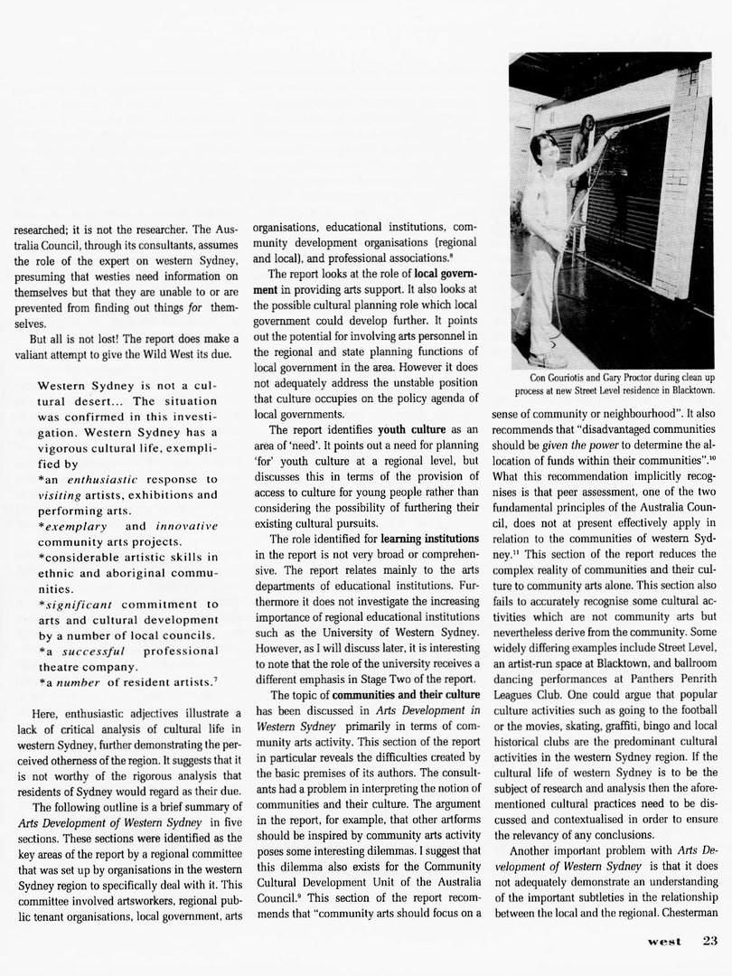 West Magazine Cultural Policy For Western Sydney 1990_JennyBarrett WEST Vol.4 No1 1991 (2)