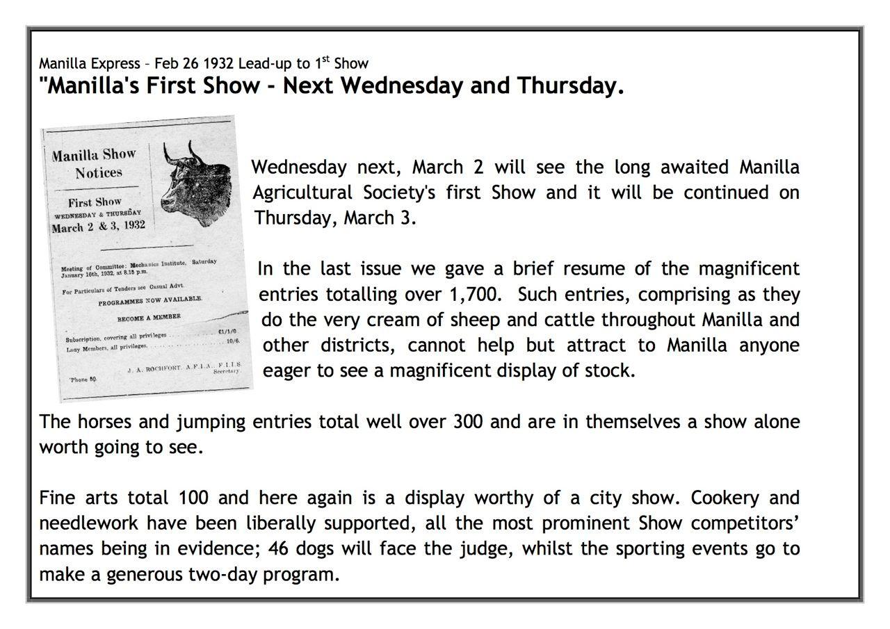 75th Manilla Show display sheet