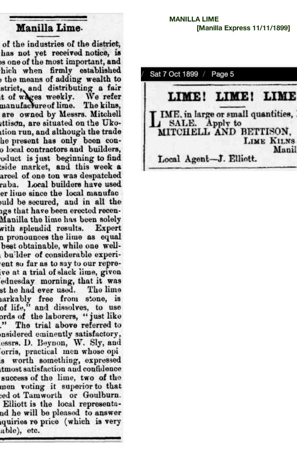 1899 Manilla Lime Kilns