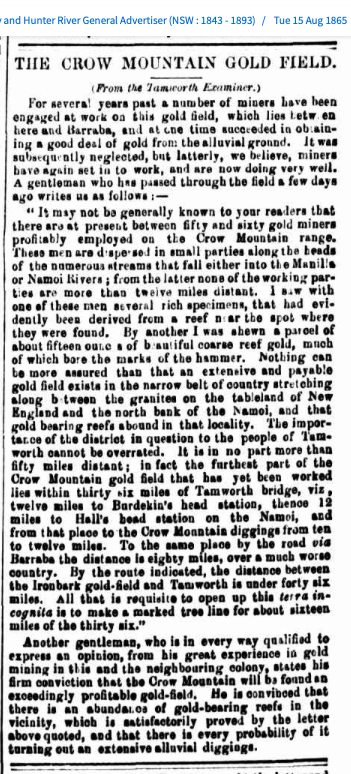 1865 Crow Mountain Gold Field