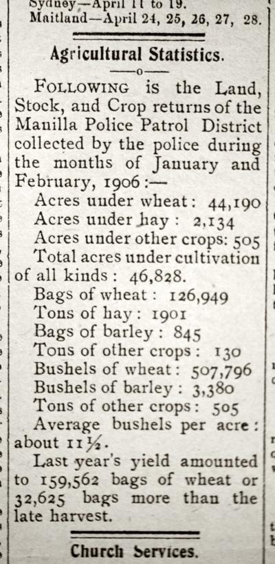 1906 Manilla Agriculture Statistics Manilla Express