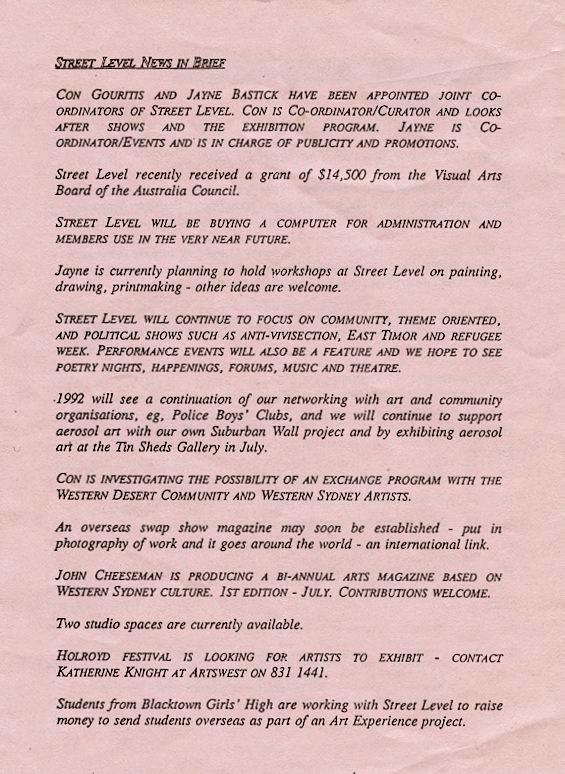 Street Level Blacktown Newsletter-Feb 1992