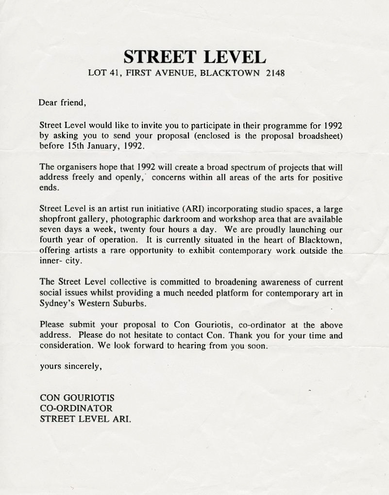 Street Level - Call for Artist Proposals 1992