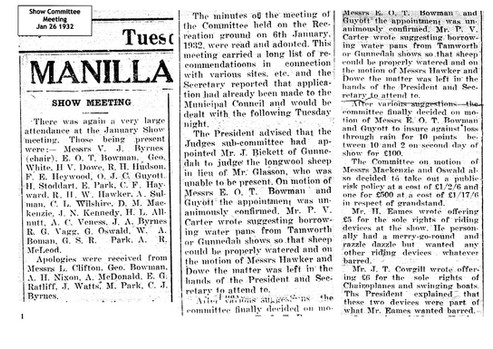 1st Manilla Show Committee meeting 1932