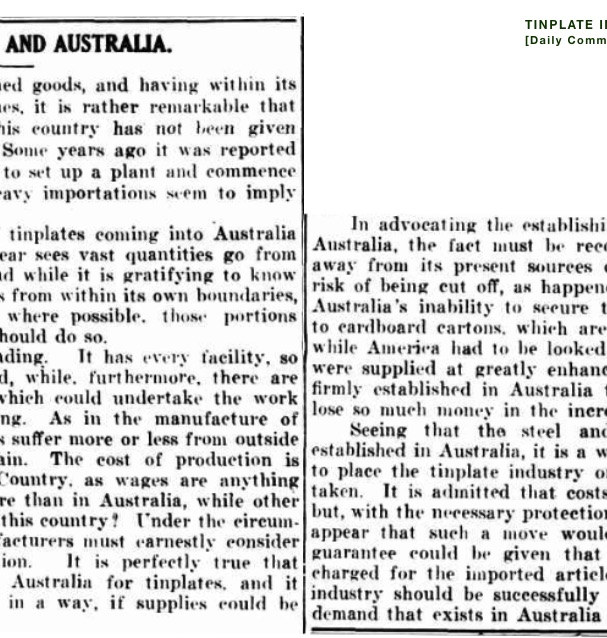 1924 TINPLATE INDUSTRY - Australia