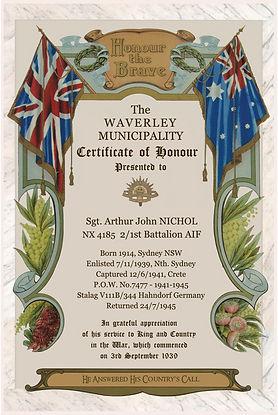 Nichol WW2 Honour Certificate