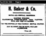 H. Baker & Co Ad 1934
