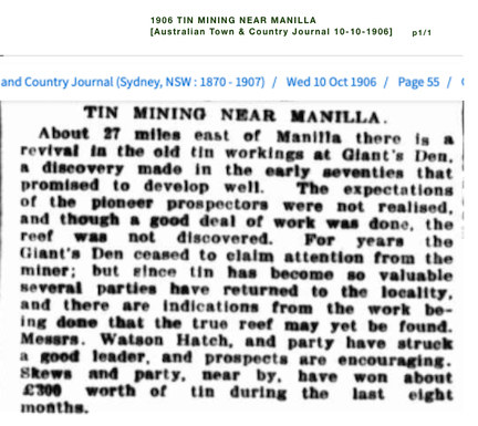 1906 TIN MINING near MANILLA