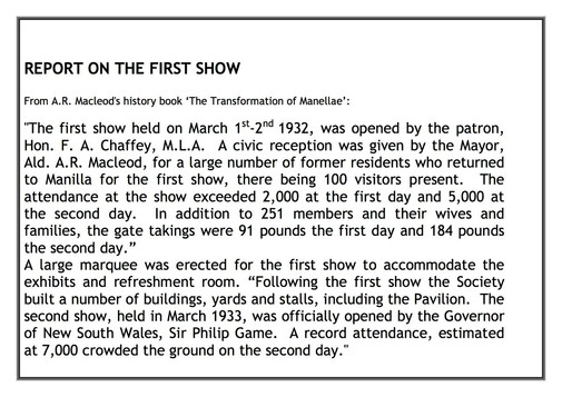 75th Manilla Show display sheet
