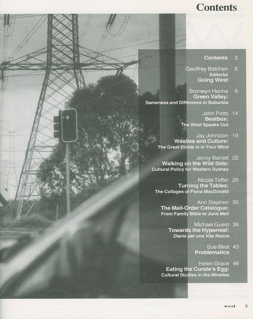 Inside Cover_Contents WEST Magazine Vol3 No1 1991
