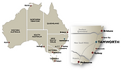 Map of Australia with NSW Regions map showing Tamworth Region (©Regional Arts NSW / Outback Arts)