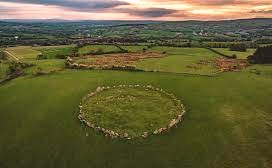 Aerial view of the Beltany Stone Circle in Donegal, Ireland.