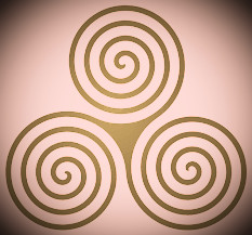 The Celtic triskelion, symbol of the life-death-rebirth cycle.