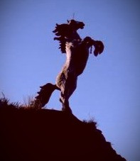 The Capall Mor unicorn rears above the N22 in Co.Kerry, Ireland.