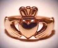 A traditional Irish wedding ring in the Claddagh style.