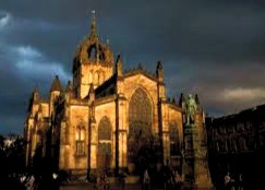 St. Giles' Cathedral, Edinburgh, where Jenny Geddes threw a stool and, according to legend, started the English Civil War.