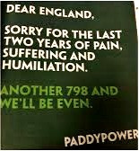 The poster above alludes to Brexit headaches arising from the N.I. border issues as well as 800 years of British occupation.
