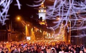 Hogmanay Torchlight procession in Edinburgh, Scotland
