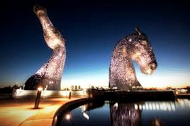 Giant Kelpie sculptures next to the Firth and Clyde Canal pay tribute to Scotland's mythic past.