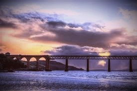 The new Tay Bridge, Dundee side, at twilight.