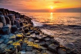 The Giants Causeway in Co. Antrim is said to have been built by the legendary hero from the province of Leinster, Fionn MacCumhail.