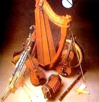 Traditional Celtic folk instruments include the fiddle and tin whistle as well as the Irish pipes, harp, and bodhran.