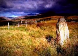 Solitary stone standing apart from the many stone circles on Machrie Moor.