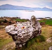 A rock formation at Coulagh in County Cork, Ireland, is said to be the face of the Cailleach looking out to sea.