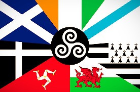 A flag of the Seven Celtic Nations.  So is being Celtic a result of nationality, ethnic descent,  or cultural identity?