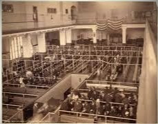 An overhead view of Ellis Island immigrants waiting to be examined.