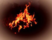 The Samhain celebration took place around a communal bonfire.