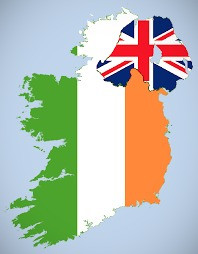 Map of Ireland with Northern Ireland marked with the British flag.
