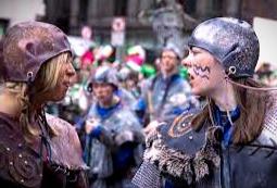 Warriors face off at a Battle of Clontarf re-enactment.