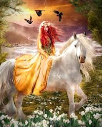 Welsh enchantress, Rhiannon first appears as a beautiful woman riding a white horse.