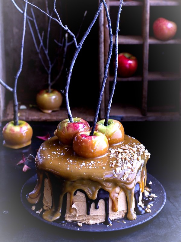 Caramel Apple Snickers Cake makes a delicious Celtic Halloween centerpiece.