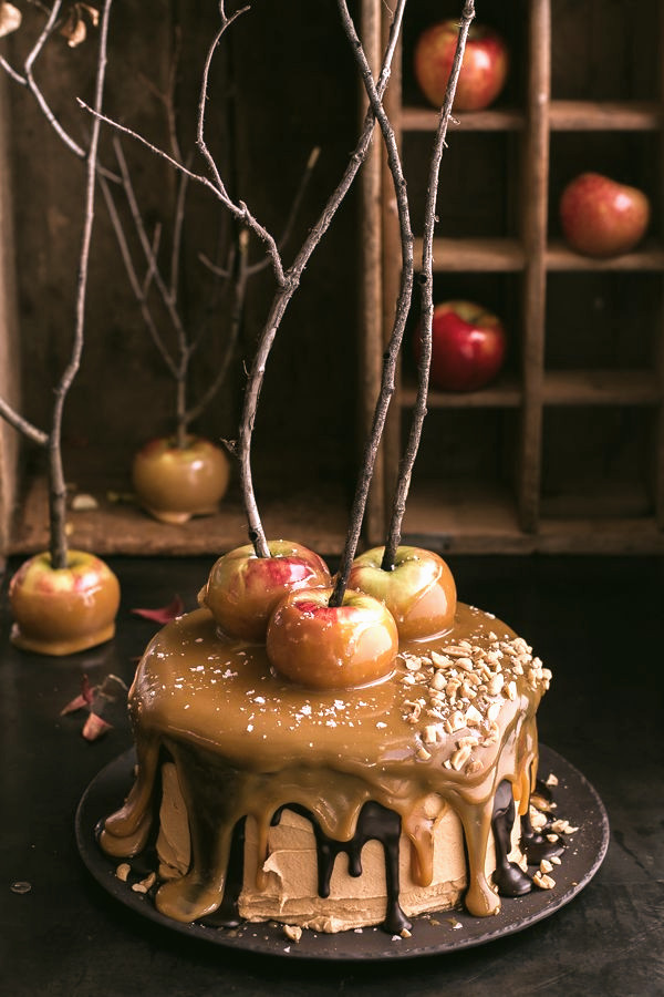Be sure to have cakes for the ancestors,like this Salted Caramel Apple Snickers Cake from Woman's Day.
