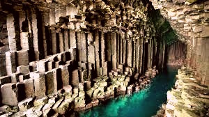Rock formations at Fingal's Cave, Scotland are said to be the other end of the Giant's causeway built by Finn MacCumhail.